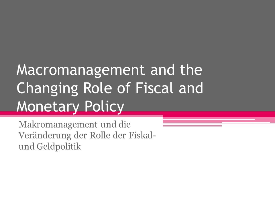Macromanagement and the Changing Role of Fiscal and Monetary Policy