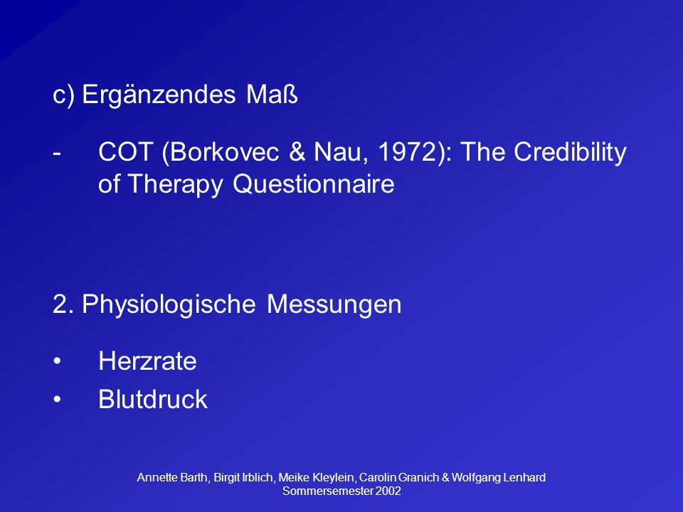 COT (Borkovec & Nau, 1972): The Credibility of Therapy Questionnaire