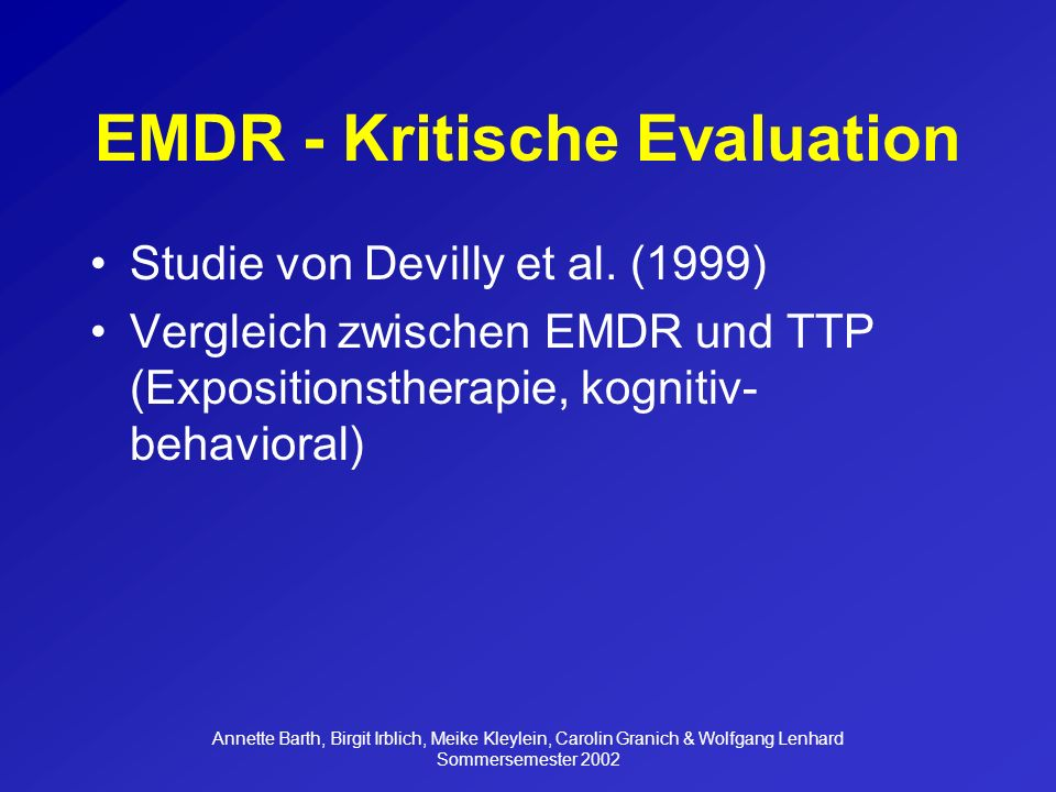 EMDR - Kritische Evaluation