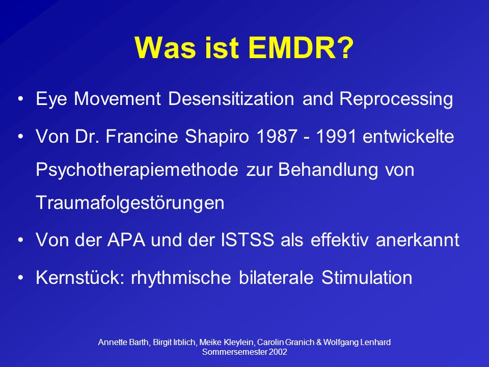 Was ist EMDR Eye Movement Desensitization and Reprocessing