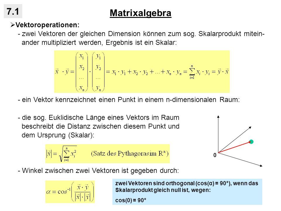 Matrixalgebra 7.1 Vektoroperationen: