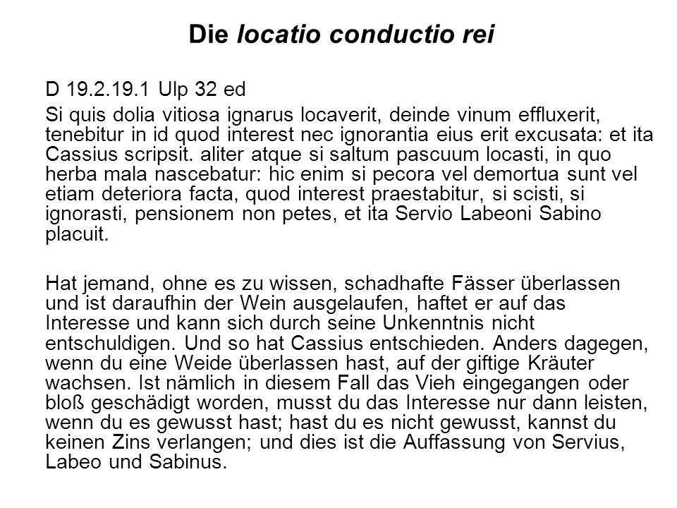 Die locatio conductio rei