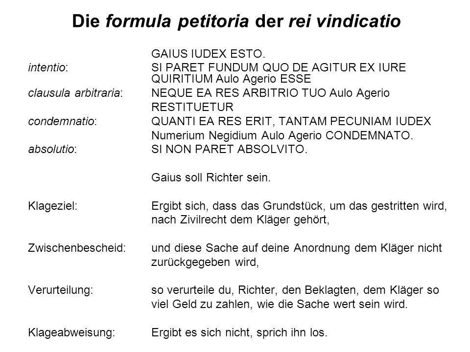 Die formula petitoria der rei vindicatio