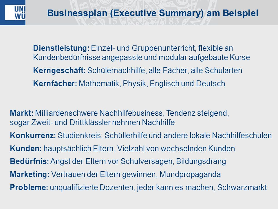 Businessplan (Executive Summary) am Beispiel