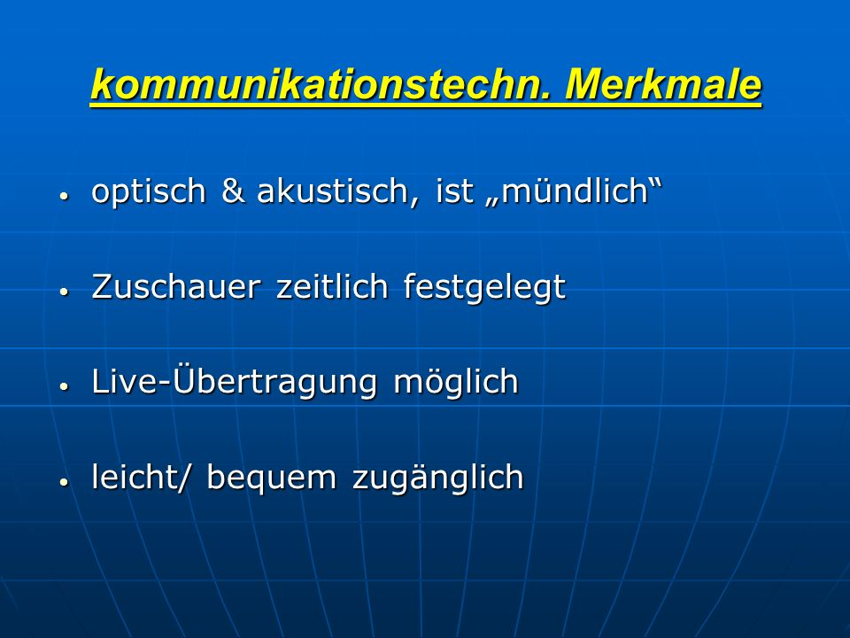 kommunikationstechn. Merkmale