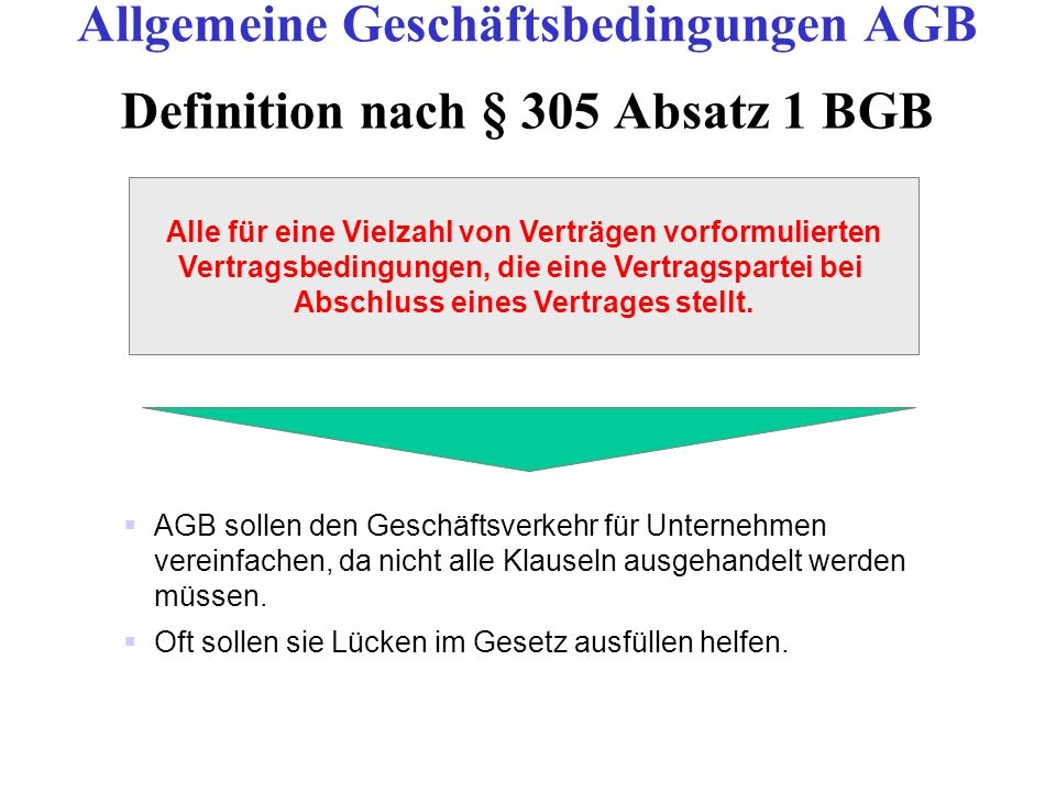Definition nach § 305 Absatz 1 BGB