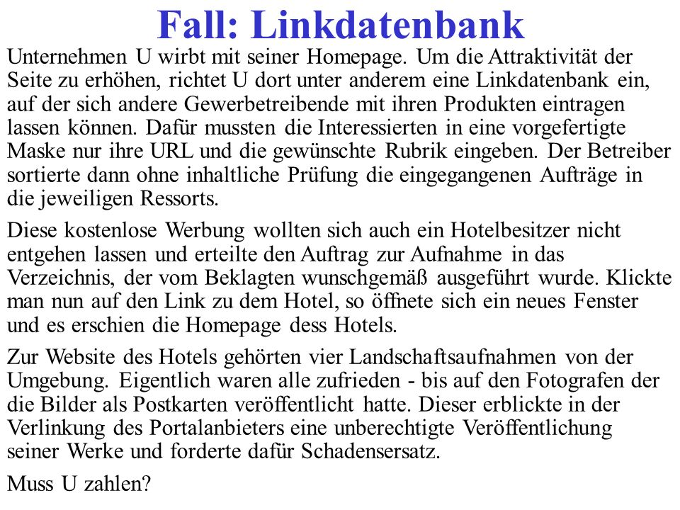 Fall: Linkdatenbank