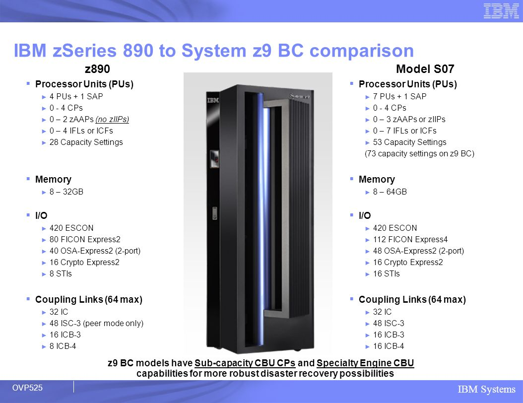 IBM zSeries 890 to System z9 BC comparison