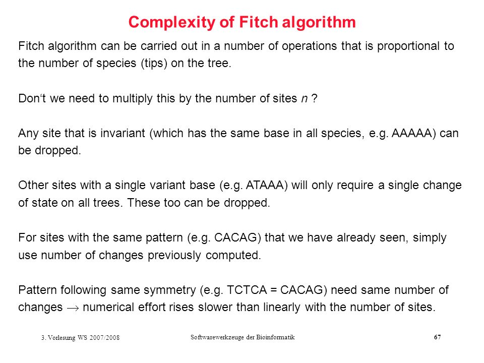Complexity of Fitch algorithm