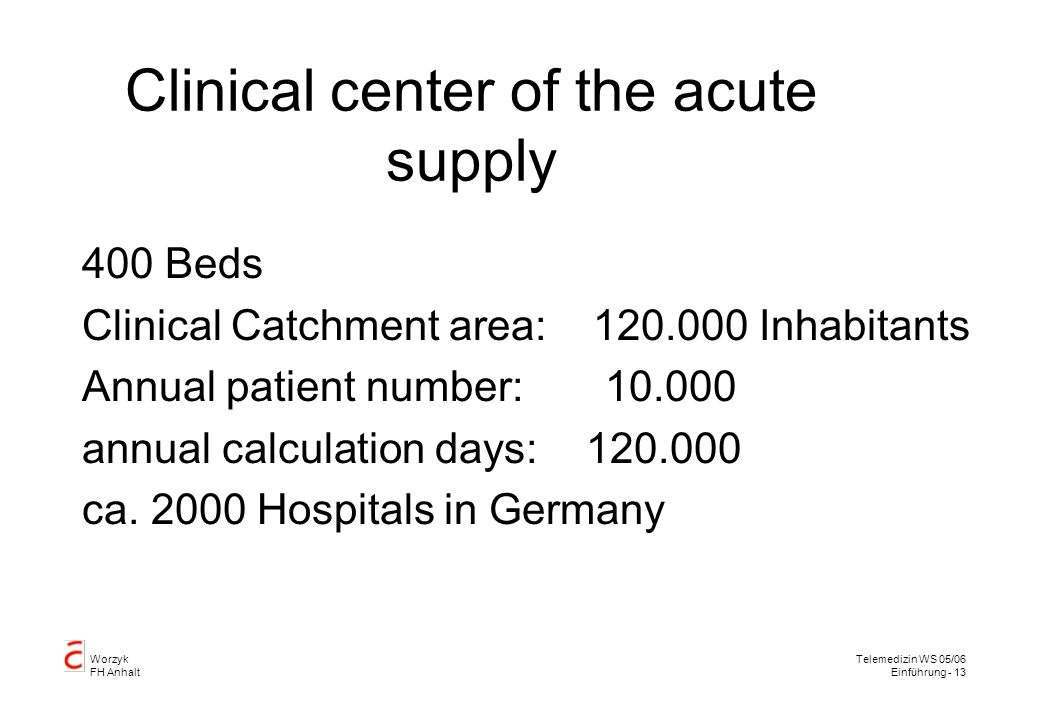 Clinical center of the acute supply