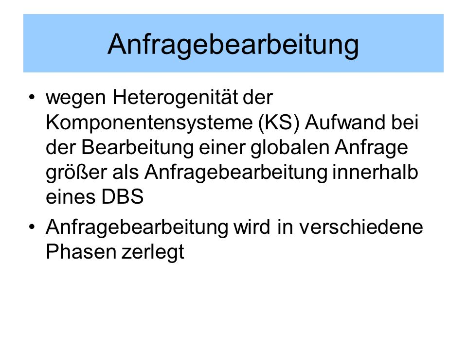 Anfragebearbeitung
