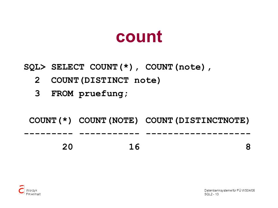 count SQL> SELECT COUNT(*), COUNT(note), 2 COUNT(DISTINCT note)