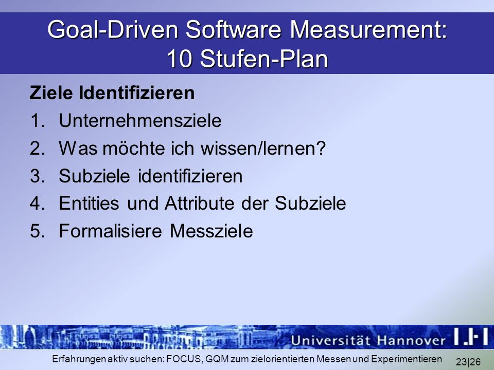 Goal-Driven Software Measurement: 10 Stufen-Plan