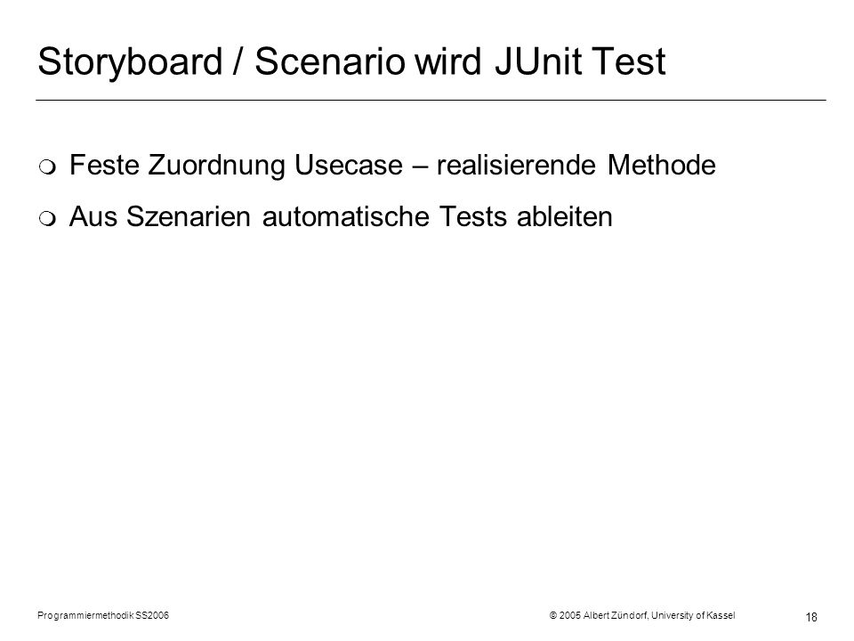 Storyboard / Scenario wird JUnit Test