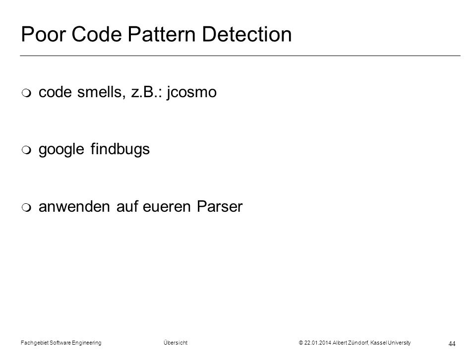 Poor Code Pattern Detection