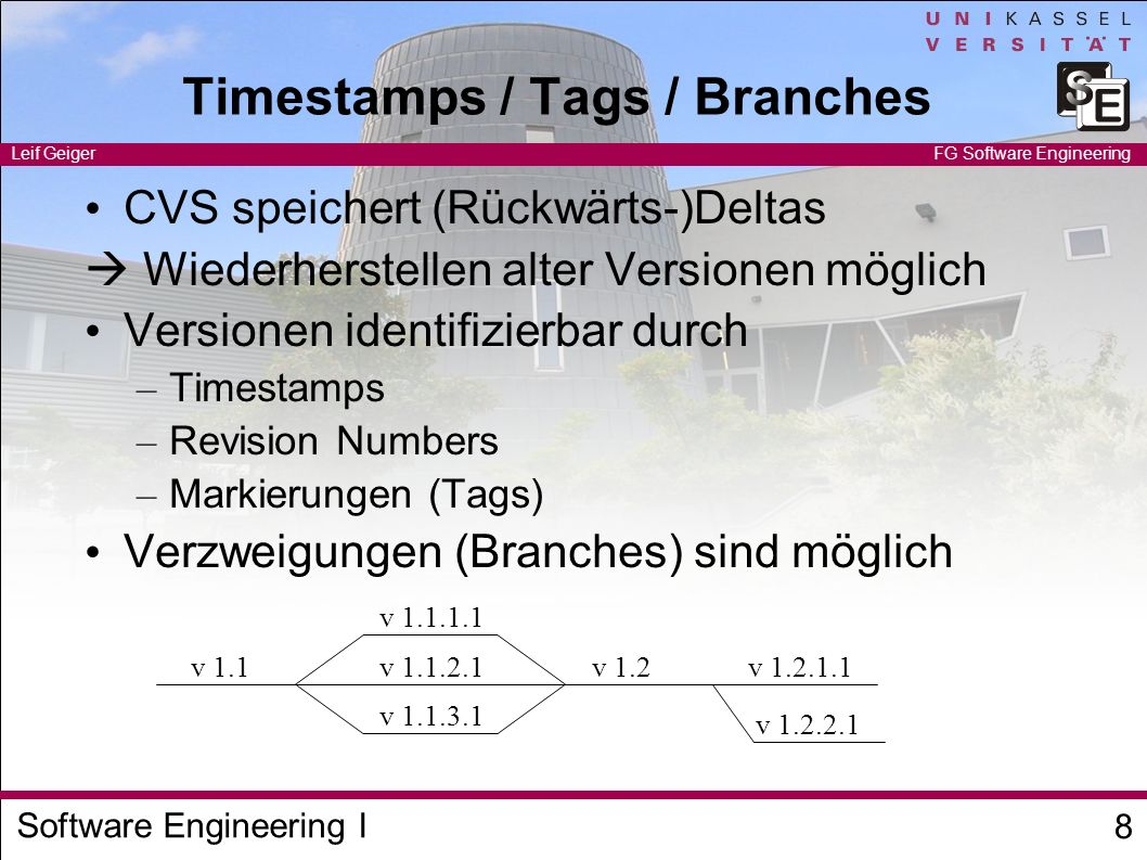 Timestamps / Tags / Branches