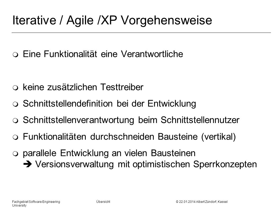 Iterative / Agile /XP Vorgehensweise