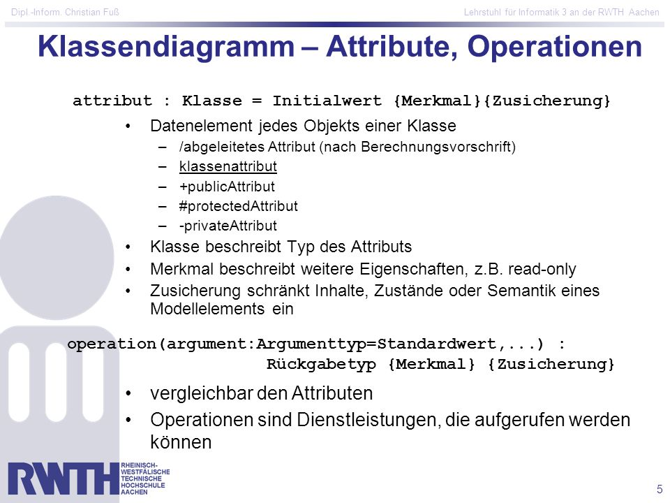 Klassendiagramm – Attribute, Operationen