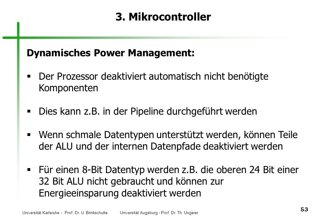 3. Mikrocontroller Dynamisches Power Management: