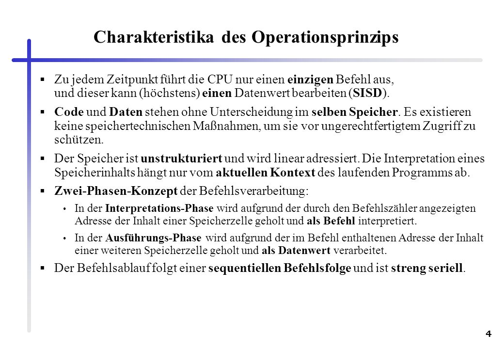 Charakteristika des Operationsprinzips