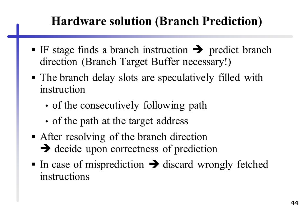Hardware solution (Branch Prediction)