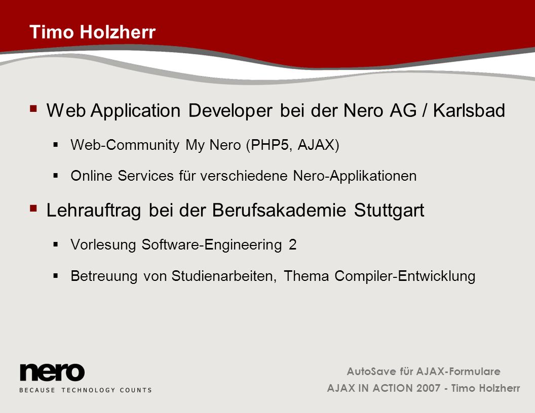 Web Application Developer bei der Nero AG / Karlsbad