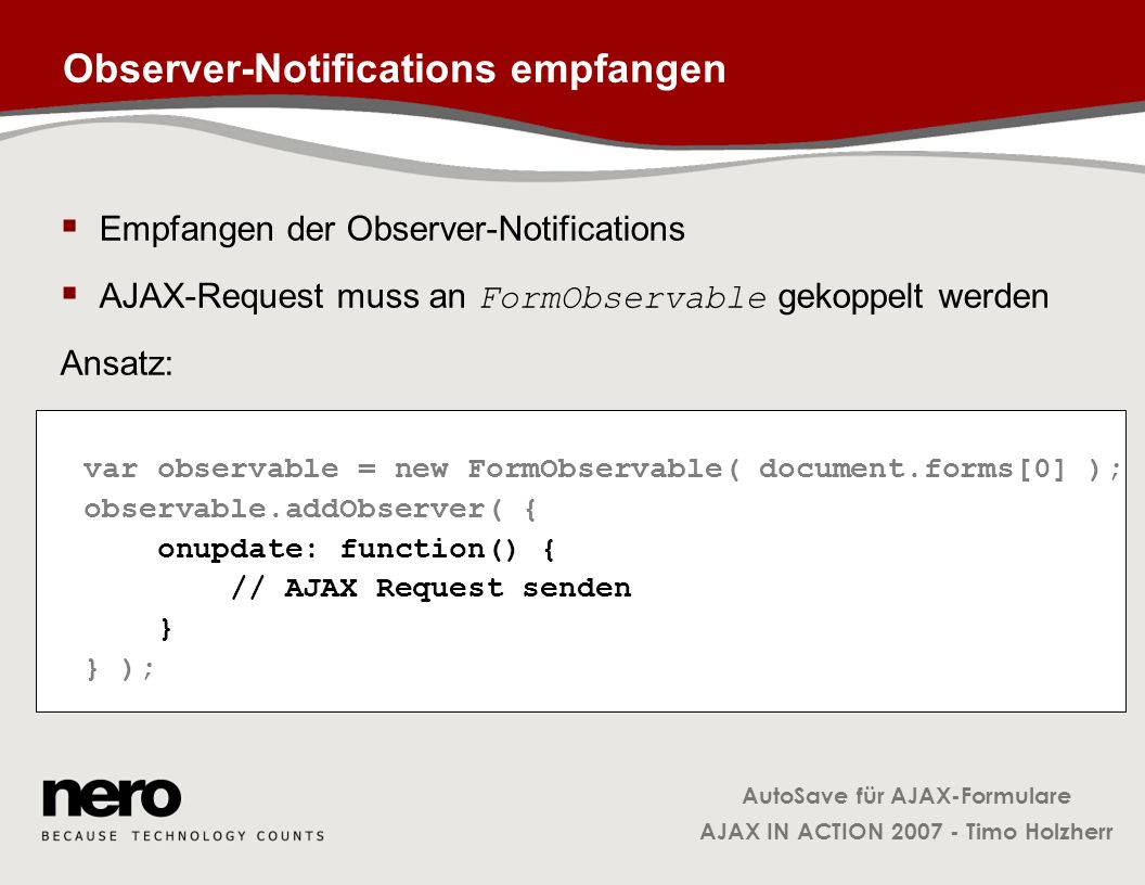 Observer-Notifications empfangen