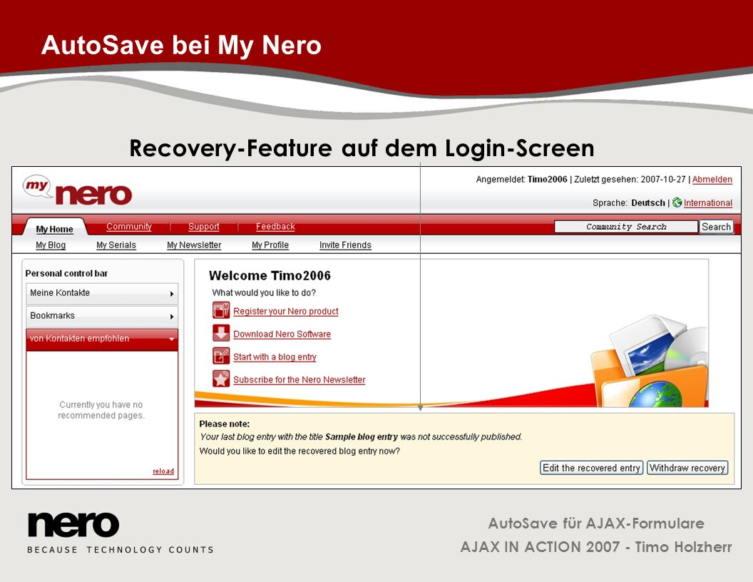 Recovery-Feature auf dem Login-Screen