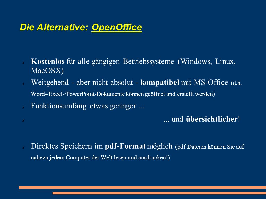 Die Alternative: OpenOffice