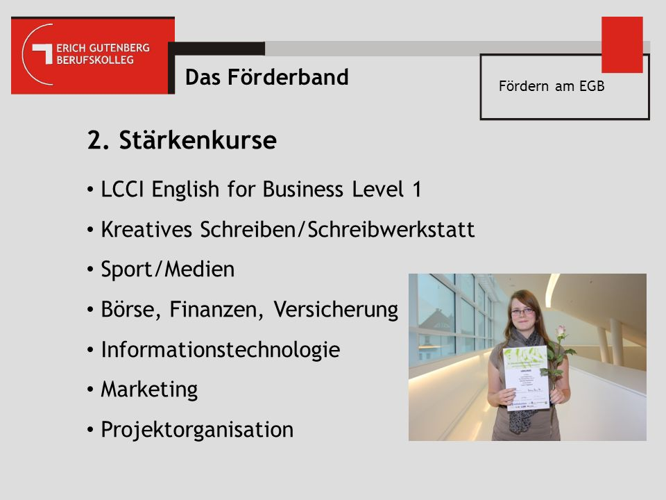 2. Stärkenkurse Das Förderband LCCI English for Business Level 1