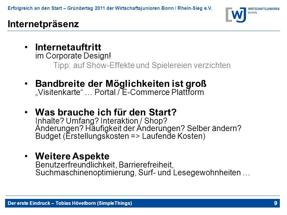 Internetauftritt im Corporate Design!