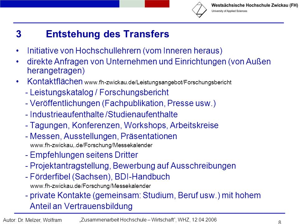 3 Entstehung des Transfers