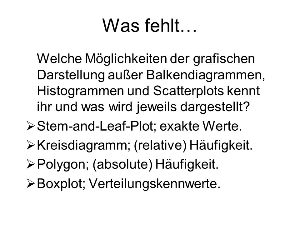Was fehlt…