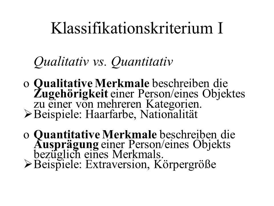 Klassifikationskriterium I