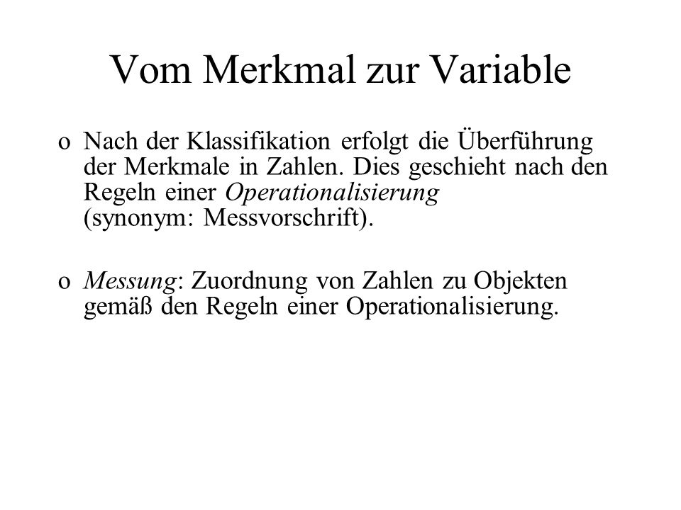 Vom Merkmal zur Variable