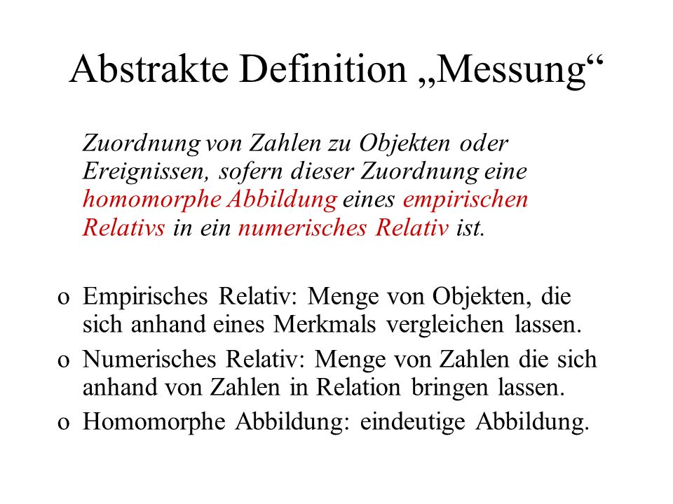 "Abstrakte Definition ""Messung"
