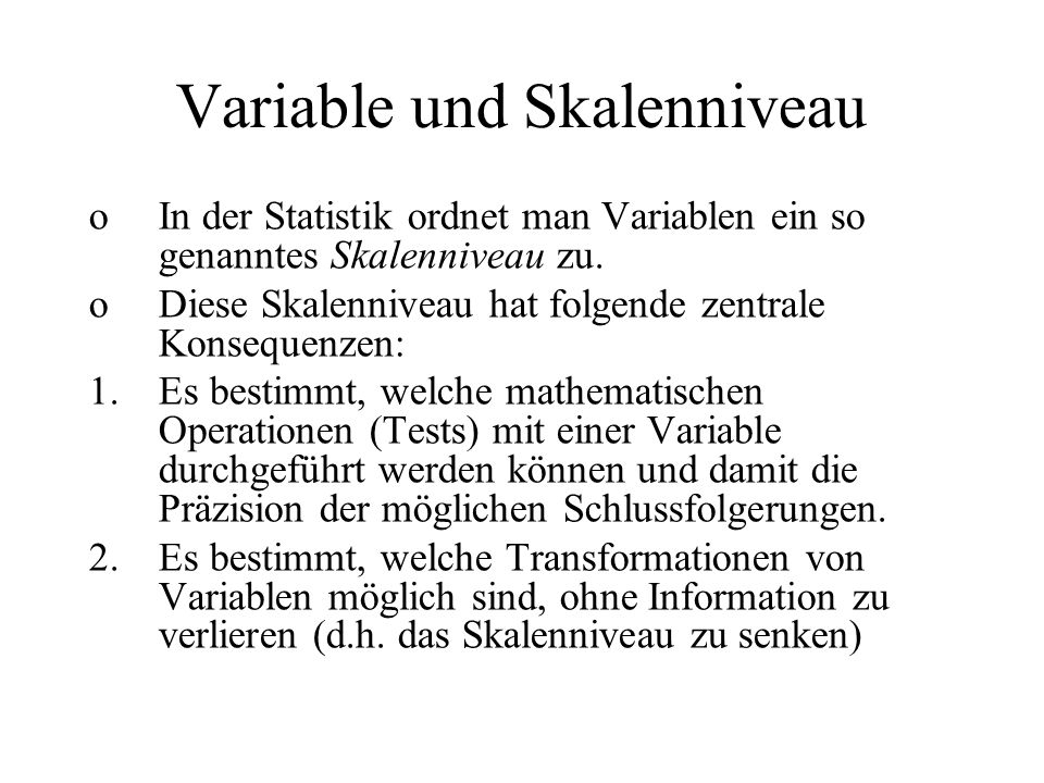 Variable und Skalenniveau
