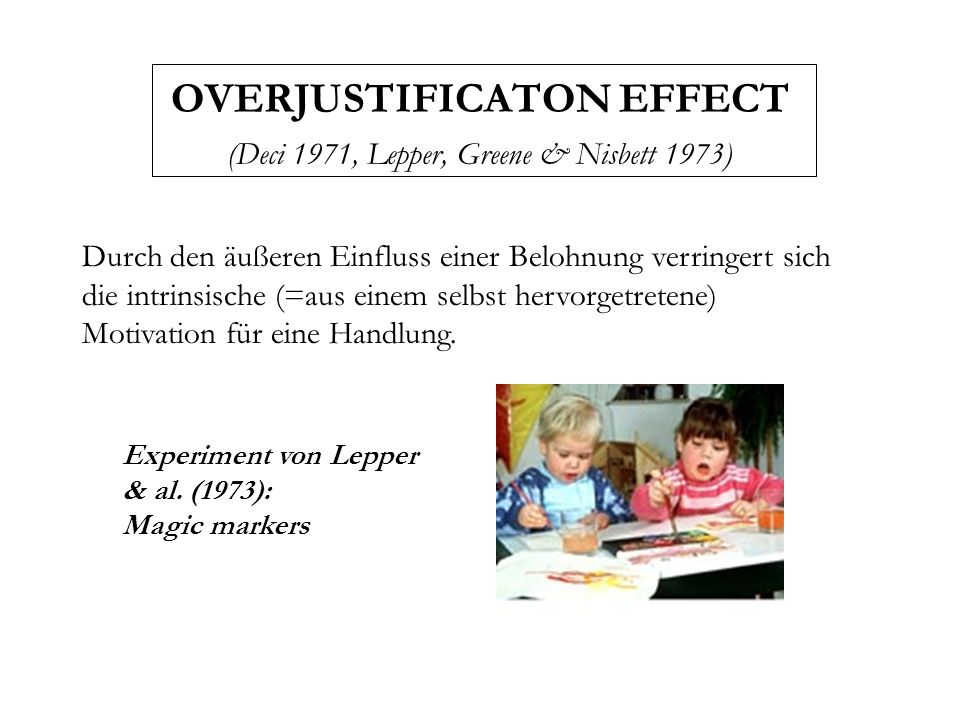 OVERJUSTIFICATON EFFECT (Deci 1971, Lepper, Greene & Nisbett 1973)