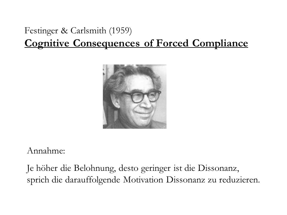 Festinger & Carlsmith (1959) Cognitive Consequences of Forced Compliance