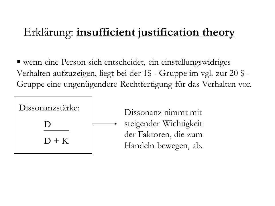 Erklärung: insufficient justification theory