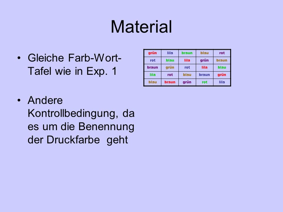 Material Gleiche Farb-Wort-Tafel wie in Exp. 1