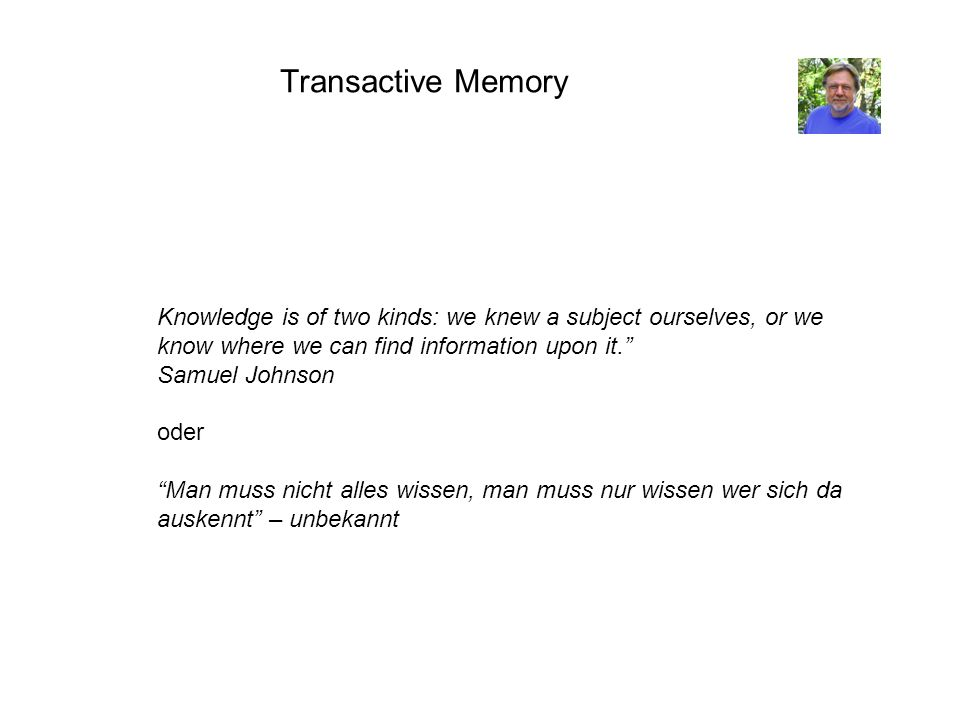 Transactive Memory Knowledge is of two kinds: we knew a subject ourselves, or we know where we can find information upon it.