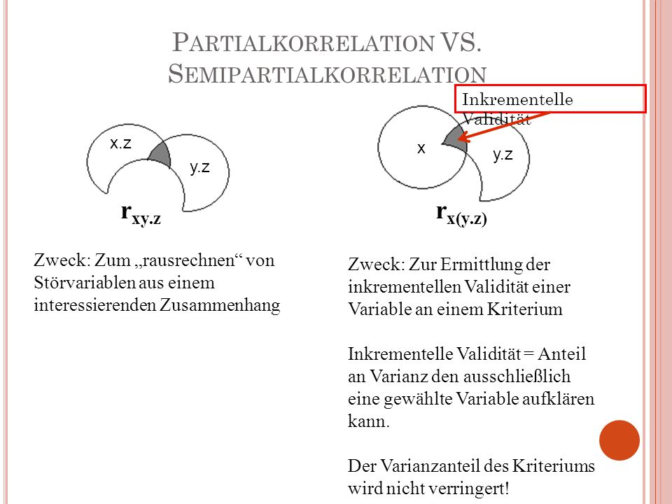 Partialkorrelation VS. Semipartialkorrelation