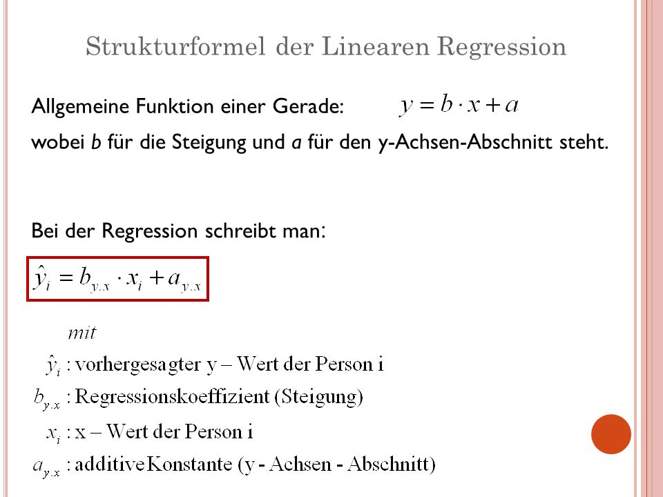 Strukturformel der Linearen Regression