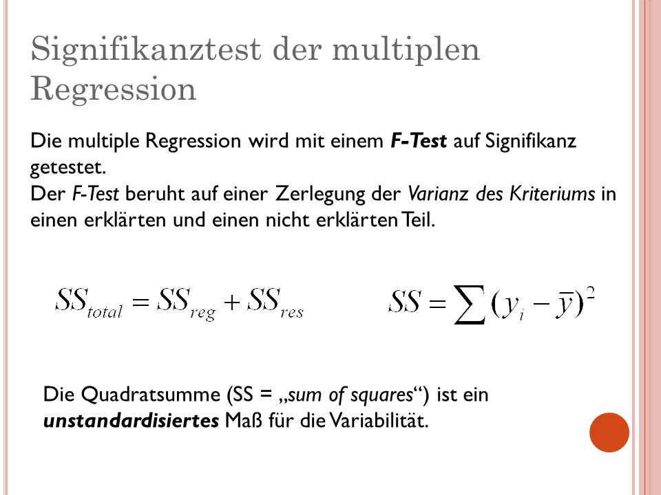 Signifikanztest der multiplen Regression
