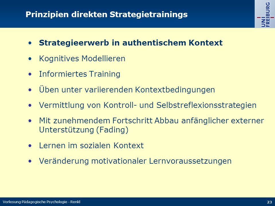 Prinzipien direkten Strategietrainings