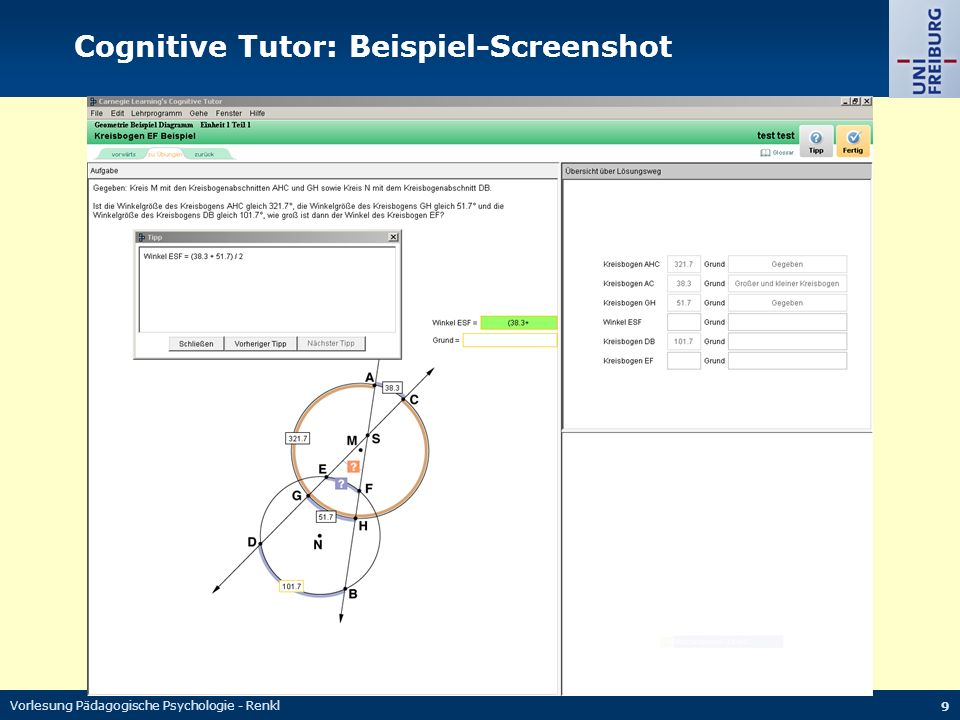 Cognitive Tutor: Beispiel-Screenshot