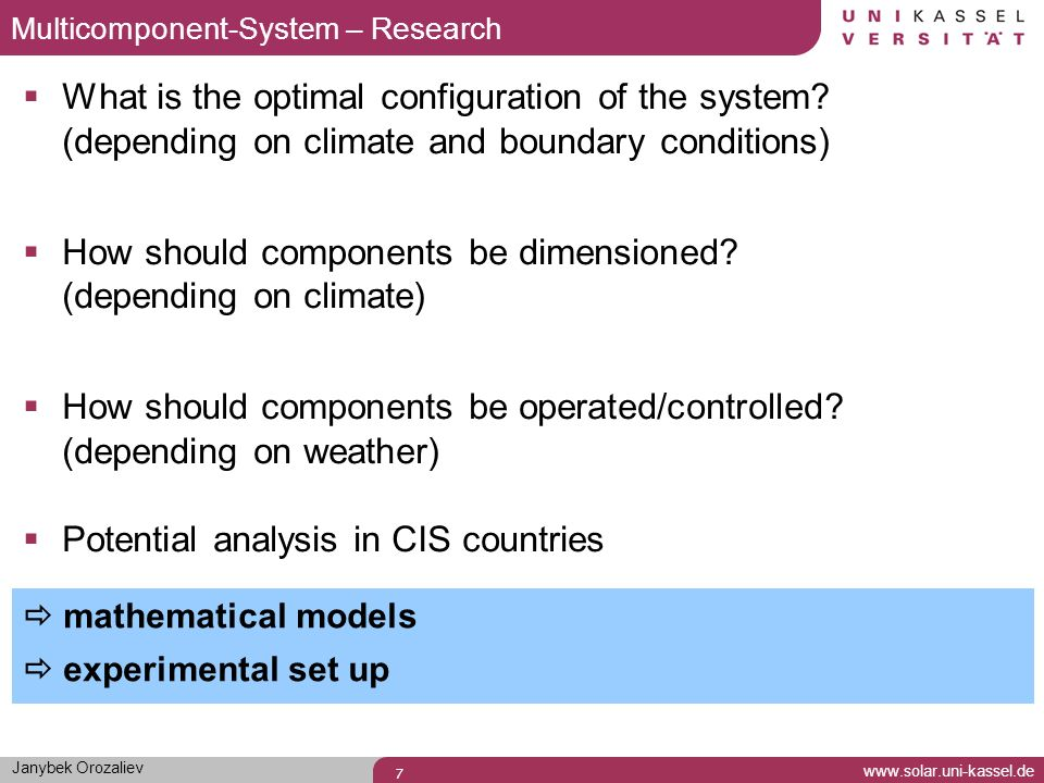 How should components be dimensioned (depending on climate)