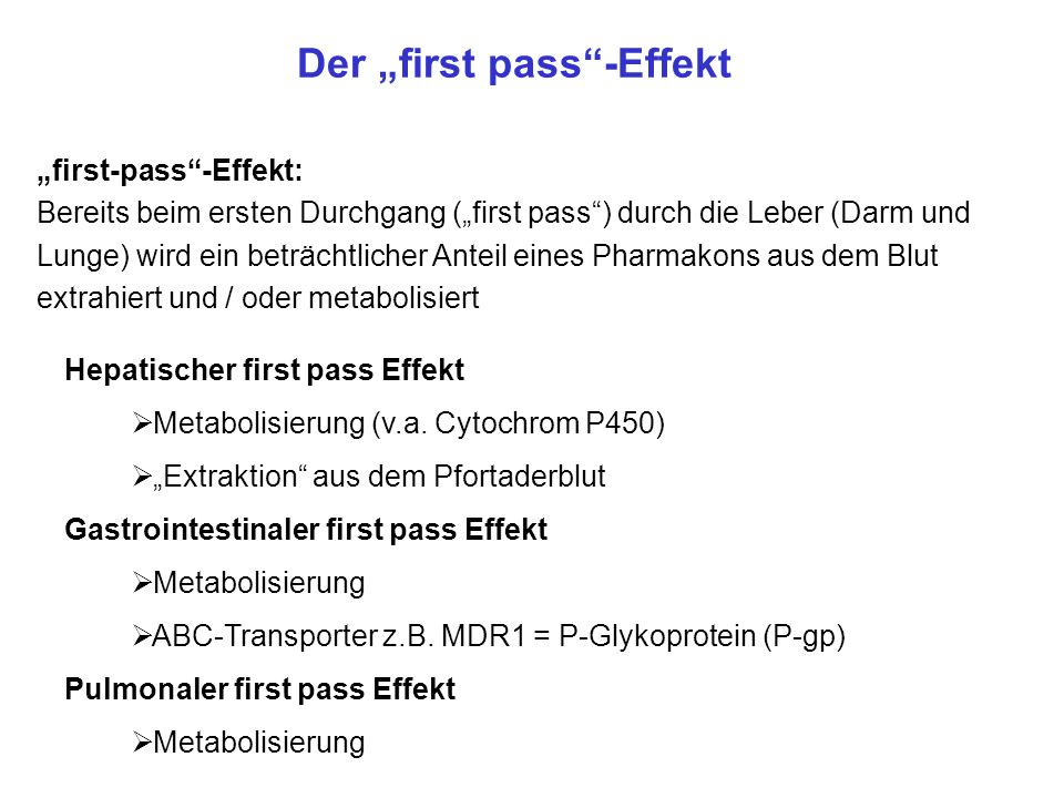 "Der ""first pass -Effekt"