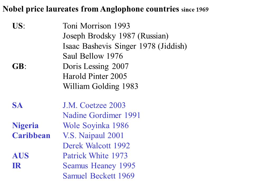 Nobel price laureates from Anglophone countries since 1969
